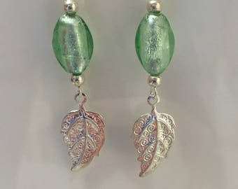 Earrings silver and green beads, silver leaf charm