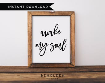 Digital Download, Awake my soul print, Awake my soul, Scripture Printable, Bible Verse Wall Art, Hand Lettered Print, Calligraphy, Printable