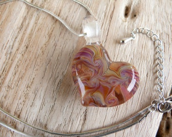 Boro lampwork heart pendant