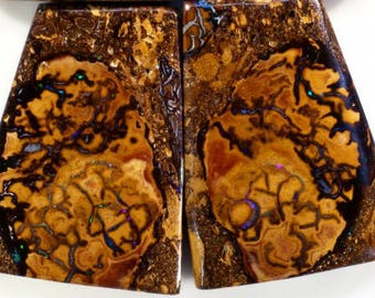 A pair of large unusually patterned Yowah boulder opals