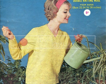 "Lady's V-Neck Sweater DK 32-38"" Sirdar 1722 Vintage Knitting Pattern PDF instant download"