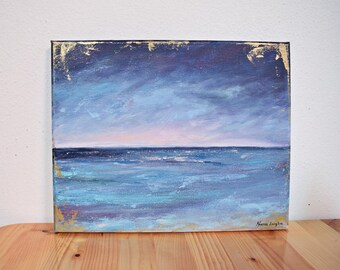 """Ocean painting, acryilic painting// """"Gold and Blue Ocean"""", contemporary art, abstract art on canvas"""