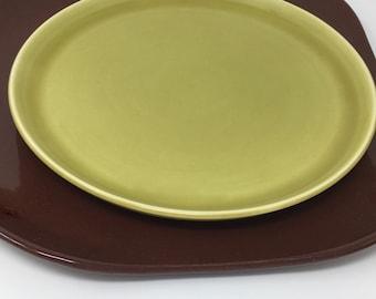 Russel Wright, Chartreuse, Dinner Plate, Modern Dinnerware, Organic Minimalist, American Modern, Steubenville Pottery ca. 1939 - 1959