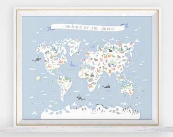 Animal world map, animal nursery art, map nursery art, my first map, map of the world, world map, animals around the world, animal print