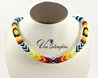 Native American inspired beaded necklace for men, Mens gifts beadwork jewelry, Seed bead rope choker necklace, Peyote choker, Ethnic choker