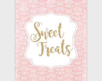 Sweet Treats Sign, Candy Buffet Sign, Wedding Printable Dessert Table Sign, Baby Shower, Blush Pink Gold Bridal Shower 8x10 Instant Download
