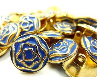 Metal buttons, blue enamel gold tone metal flowers