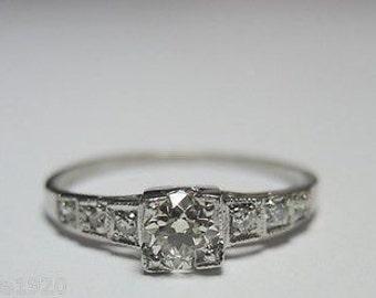 Antique Diamond Platinum Art Deco Engagement Ring | RE: 741