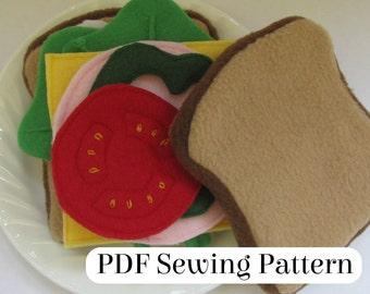 Sandwich Pattern - PDF Sewing Pattern - Fleece Food Sandwich -  Felt Food Sandwich - Sandwich Toy - Play Food - Pretend Food