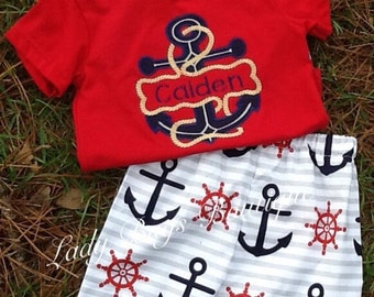 Boys Nautical short set. Ready to ship. Personalized at no extra charge.*****Please Read Shop Announcement*****