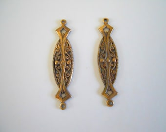Pair Vintage Brass Filigree Connectors