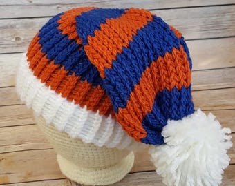 Orange Blue Slouchy Hat, College Football Hat, NFL Hat, Knit Blue Orange Hat, Auburn Hat, Blue Hat, Knit Slouchy, Knitted Auburn Tigers Hat