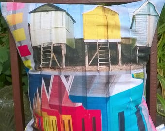 "Cover cushion 40 x 40 ""Beach huts"" printed multicolored"