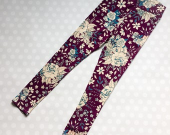 Floral Print Leggings - purple floral - Leggings for Women and Teens - Womens Print Leggings - Floral Leggings - Plum Floral Print Leggings
