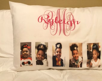 Monogrammed Pillow Case with name, Standard/Queen Size with up to 5 photos