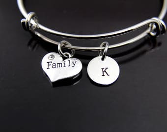 Family Bangle Silver Family Charm Bangle Family Charm Bracelet Family Heart Charm Bracelet  Family Jewelry Personalized Initial Bracelet