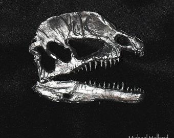pewter dinosaur pin - Dilophosaurus