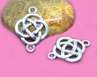 4 connector knot Celtic silver 25x18mm