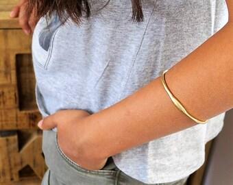 MOTHERS DAY GIFT, Asymmetrical Bangle, Gold Plated Bracelet, Gold Plated Bracelet Bangle, Dainty Bracelets, Bridal Bracelet, Gift For Her