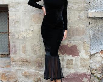 Velvet dress/ Homecoming dress/ Black dress/ Elegant dress/ Cocktail dress/ Holiday dress/ dress/Black gown/ Dressing gown/002.224