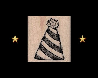 PARTY HAT Rubber Stamp, Party Stamp, Hat Rubber Stamp, Birthday Rubber Stamp, Birthday Party Rubber Stamp, Hat Stamp, Paper Hat Stamp