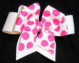 Hot Pink Polka Dot Girls 5 inch Double Hair Bow with Solid White Background Bow