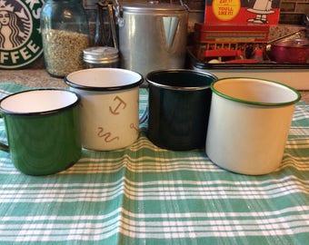 Enamelware cups / 4 asst / green / white / tan