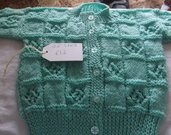Mint Baby Cardigan - Hand knitted 22inch chest patterned cardigan