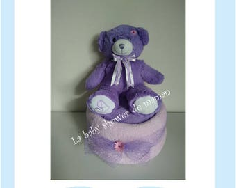 My purple bear - with Teddy bear diaper cake