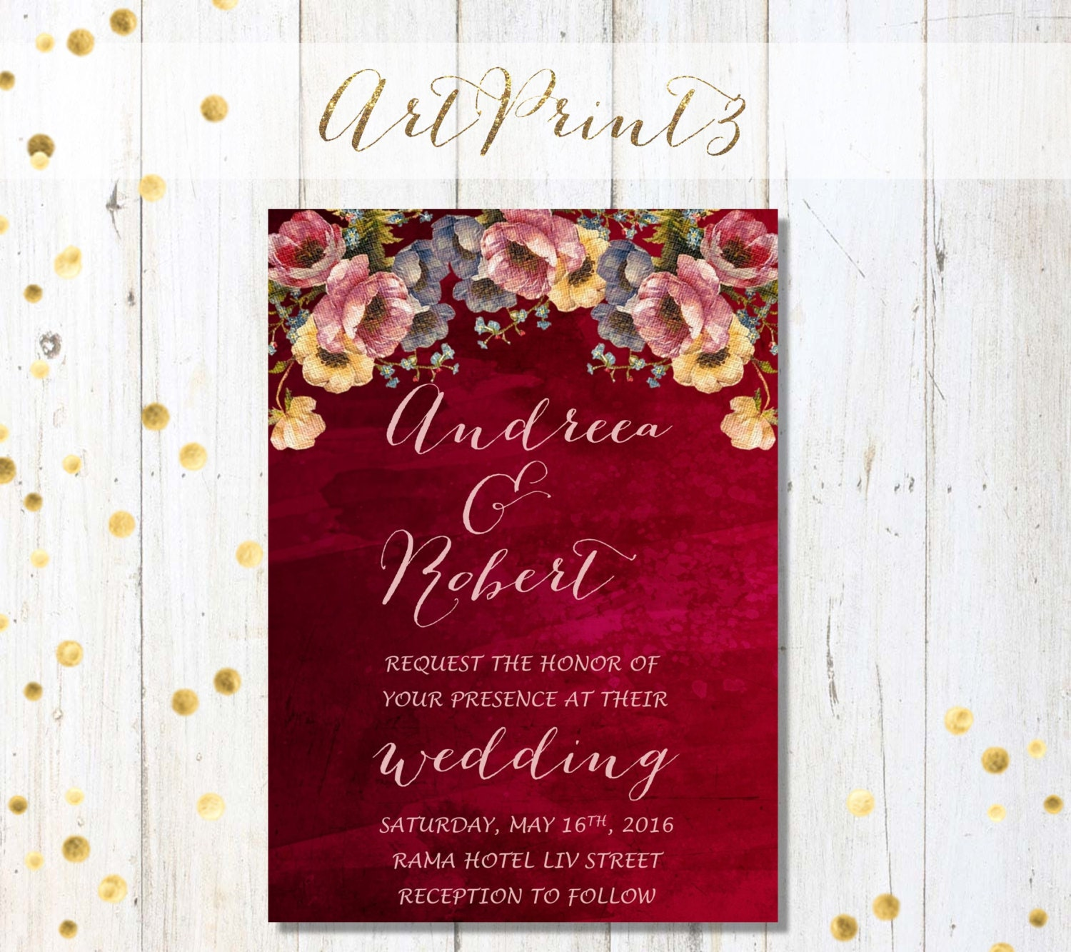 Printable Wedding Invitation Wine Watercolor Wedding Invite
