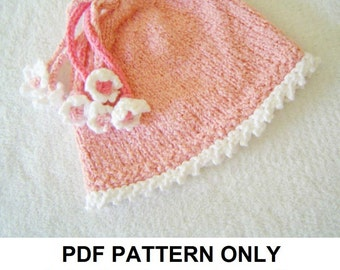 Knitting Pattern - Pink Girls Hat Pattern - the PENELOPE Hat (Newborn, Baby, Toddler, Child & Adult sizes incl'd)