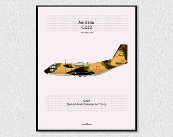 Laminate, poster, downloadable for decoration, instant descargar, wall decor printable, airplane poster, Avion AERITALIA G222.