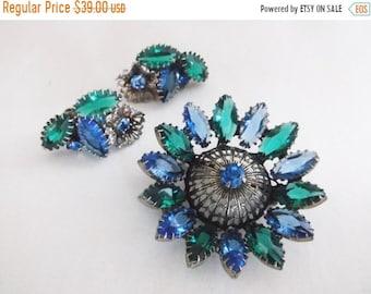 SALE Vintage Retro Juliana Rhinestone Flower Brooch Pin Earrings Blue Green Stones Demi Parure Set Jewelry