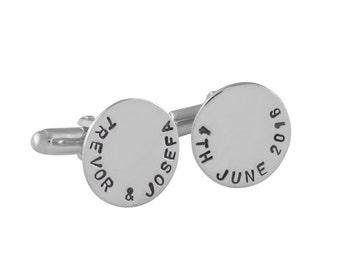 Personalized Sterling Silver Message Cufflinks, Personalized cufflinks, Wedding cufflinks, Rose gold, Gold, Gifts for men, Circle cufflinks