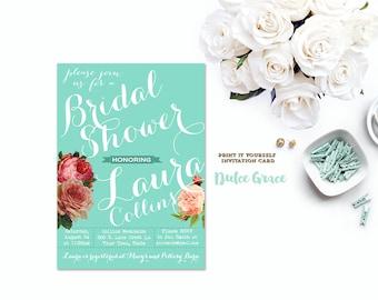 bridal shower invitation, aqua blue bridal shower invite, spring summer shower invitation, turquoise invitation, DIY PRINTABLE, jpeg or PDF