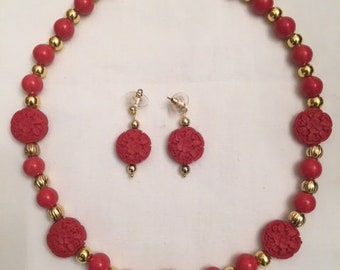 Red Carved Resin Necklace & Earring Set (#305)