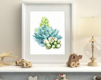 Succulents printable watercolor wall art, succulent printable cactus nursery wall decor, printable art cacti download home decor