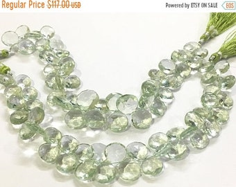 Exclusive Quality Green Amethyst faceted Briolette Heart 11 - 12 mm approx , 8 inch strand