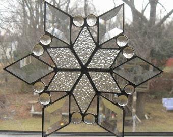 Star Ornament . beveled glass star . stain glass star . handmade glass star
