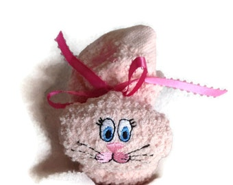Bunny PINK Heart Ribbon Boo-boo Bunny Rabbit Embroidered Gift Basket Heart Ribbon