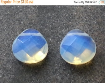 SAVE 20% 2 pieces Large Faceted Opalized Glass Briolettes 14mm x13mm