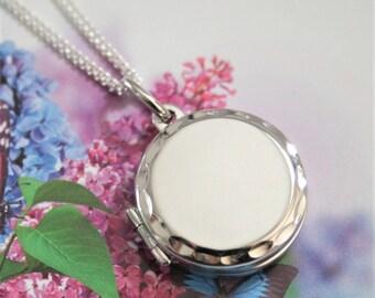 Silver locket.  Sterling silver locket and chain. Plain silver locket.  Smooth locket. 60th birthday gift for women. Small locket