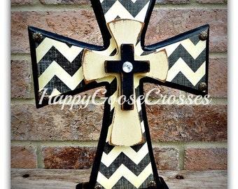Wood Cross - Standing Cross - Antiqued Black & Cream Chevron