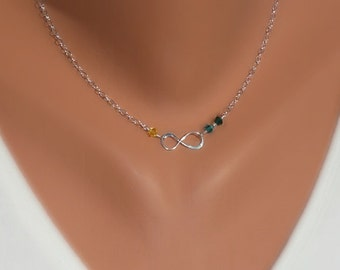 Birthstones Infinity Necklaces - Personalized Gift - Sterling Silver - Made to Order
