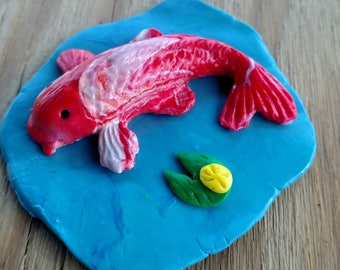 Beautiful Koi in a Pond Figurine Polymer Clay