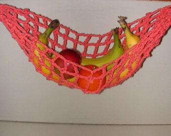 Banana Hammock, Fruit Hanger, Holder, Net, Coral