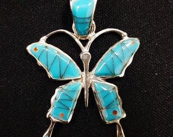 turquoise butterfly pendant - sterling silver