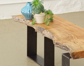 live edge maple bench from urban salvage wood and high recycled content steel - north | west bench - modern industrial natural edge