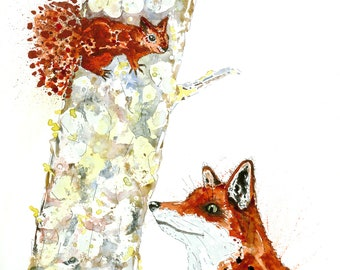 Fox and Squirrel Print  ' I see You'