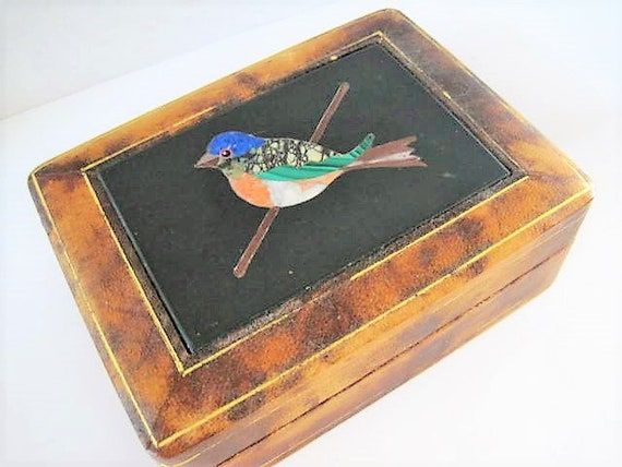 Leather  Wood Box, Mosaic Tile,  Made in Italy, Bird Inlaid Tiles,  Presentation Box